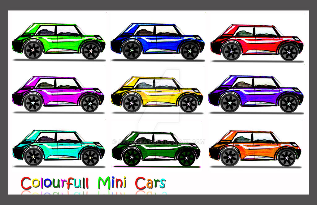 colorful smart cars by akkigreat