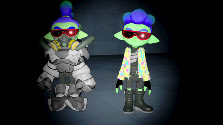 Sanitized Gul inkling boy and Cryptor by Gulsevim4234