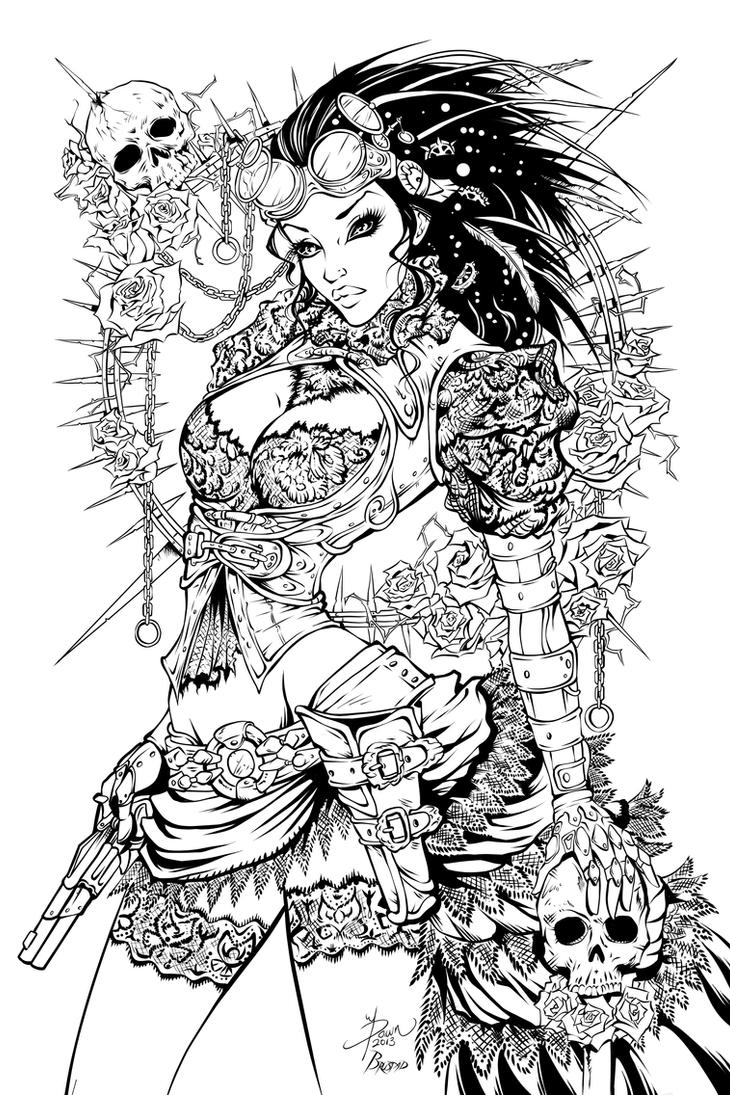 Lady mechanika inks by fendiin on deviantart for Evil dragon coloring pages for adults