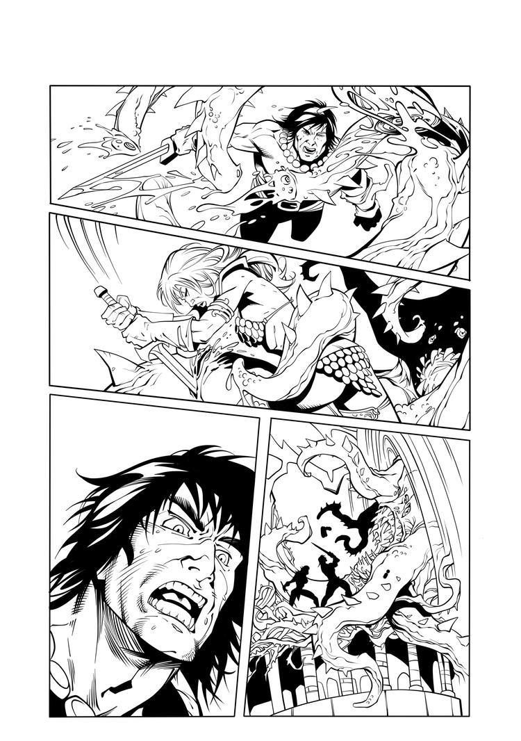 Conan vs red sonja inks 4 by Fendiin