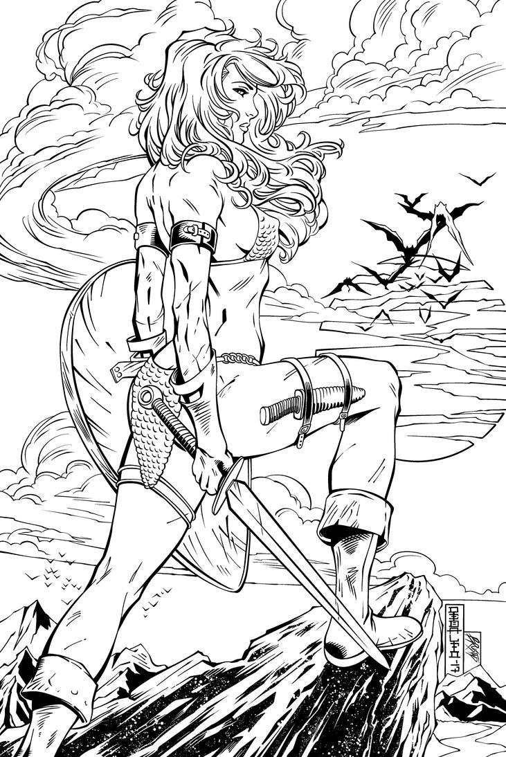 Red Sonja Inks by Fendiin