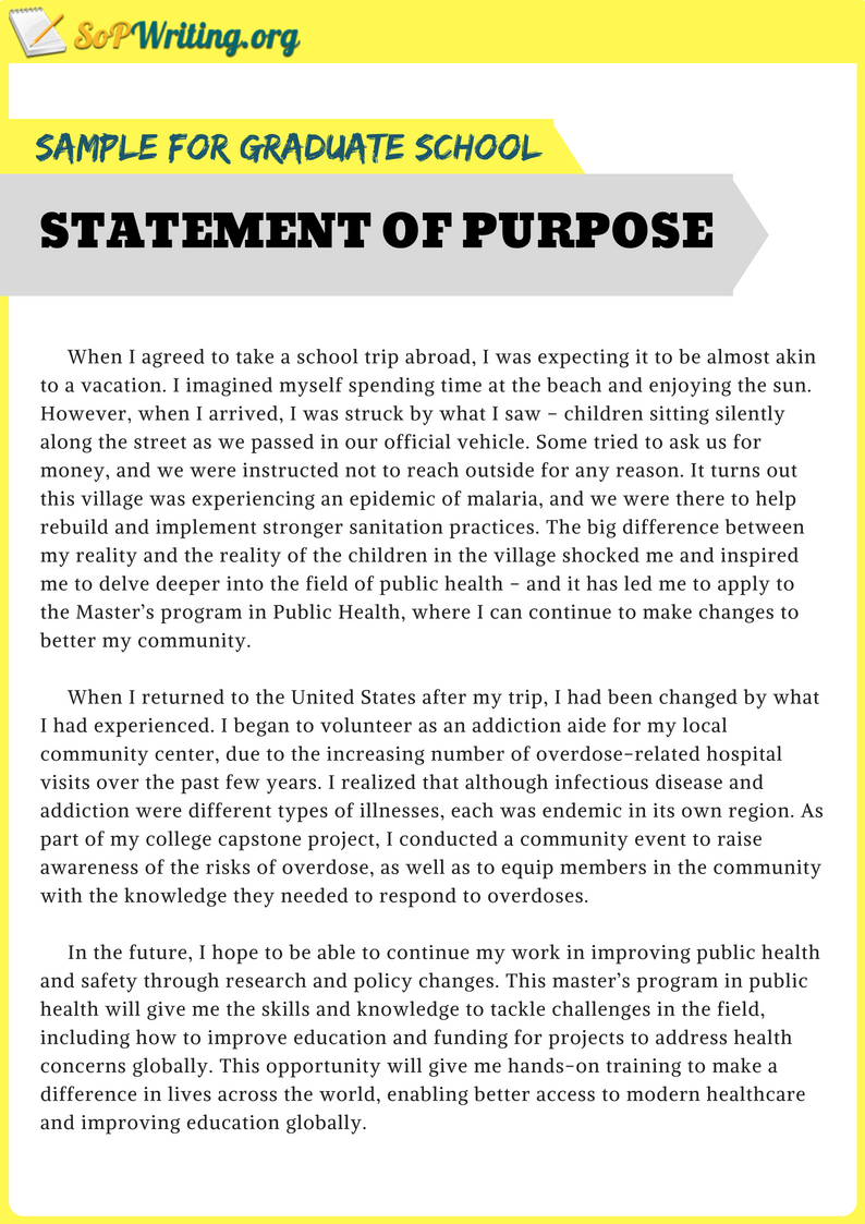 Sample Statement of Purpose for Graduate School by S O P Samples ...