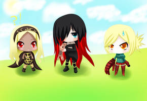 Chibi Kat Raven and Yunika by yurika-sai-sama