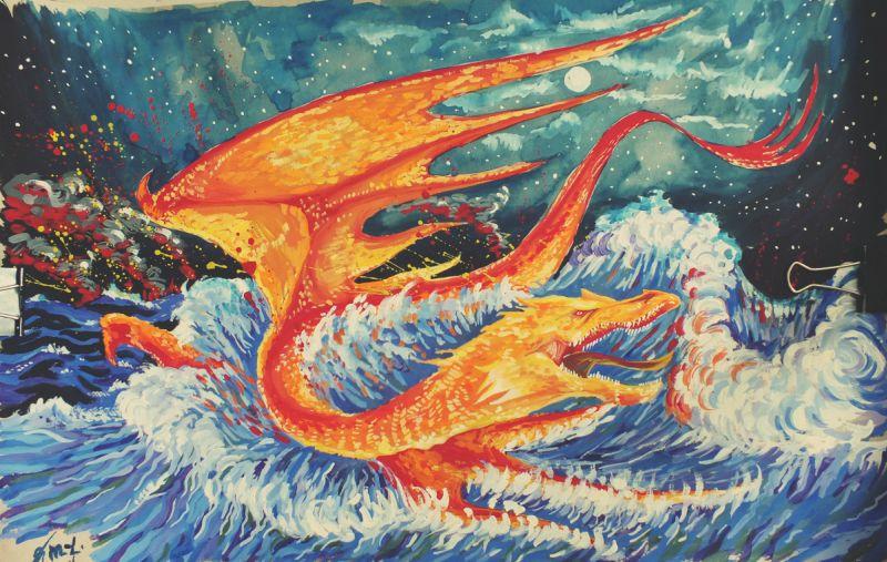 Downfall of the firedrake Smaug by Miruna-Lavinia
