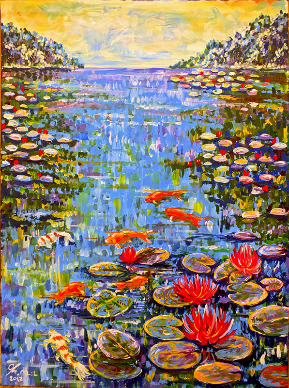 SOLD Waterlily with koi fish by Miruna-Lavinia