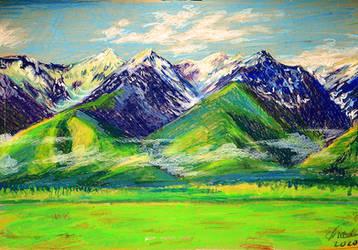 The Blue Mountains - oil pastel - Tolkien art