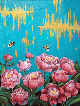 Peony and bumblebees - FOR SALE