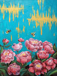 Peony and bumblebees - FOR SALE by Miruna-Lavinia
