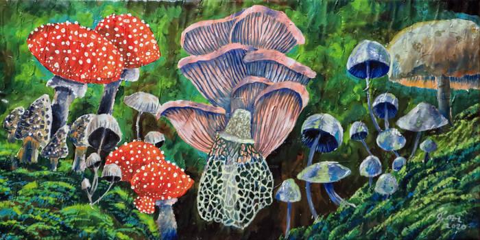 Mushrooms painting