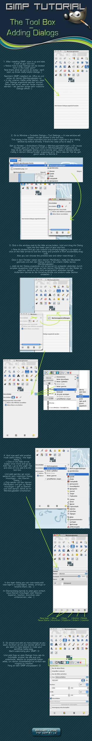 GIMP The Tool Box-Add Dialogs