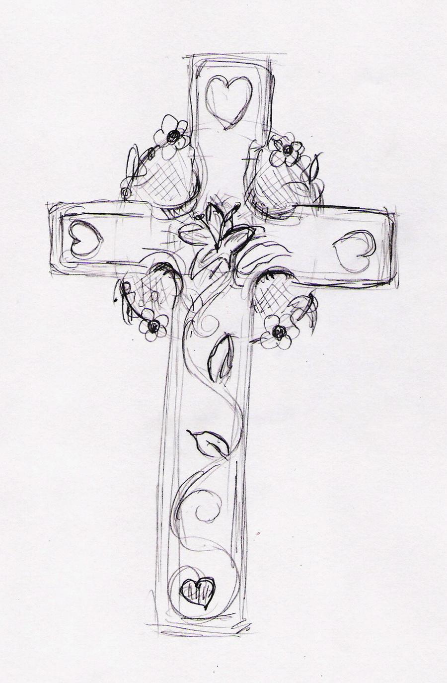 Feminine cross tattoo by pumibel on deviantart for Girly cross tattoo