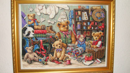 Teddy workshop cross stitch by Anim-Soul