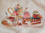 Tea time cross stitch by Anim-Soul
