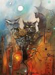 The Cats of Ulthar - acrylic canvas 40x30 cm