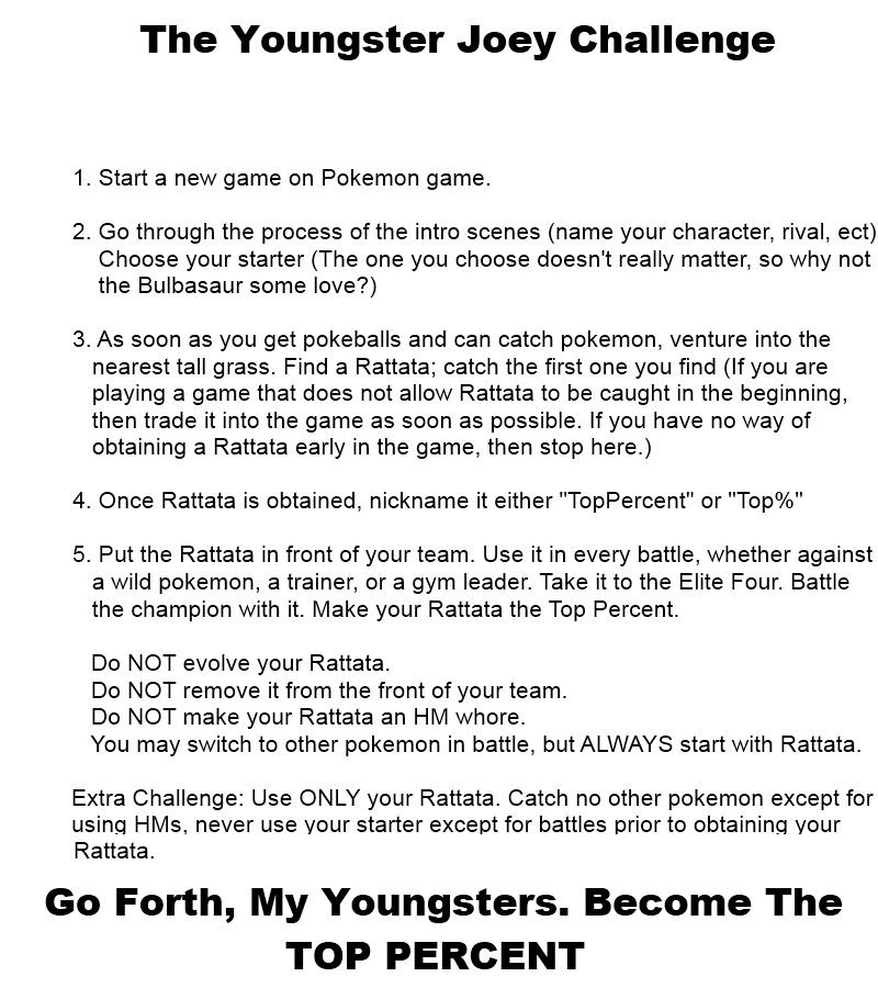 Youngster Joey Challenge! | Shameless Nerdiness ... Youngster Joey Challenge