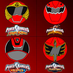 Power rangers helmets in my style part 3 (red) by Badrater