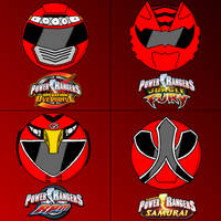 Power rangers helmets in my style part 4 (red)