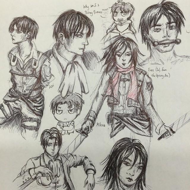 Levi, Eren, and Mikasa Sketchdump--February 2015 by Vampiressartist