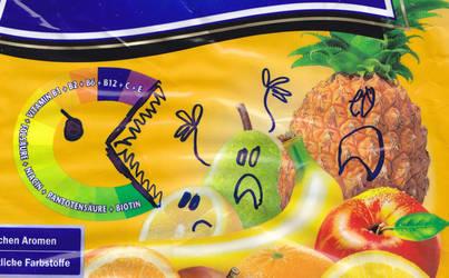 Pac-Man monster vs. fruits