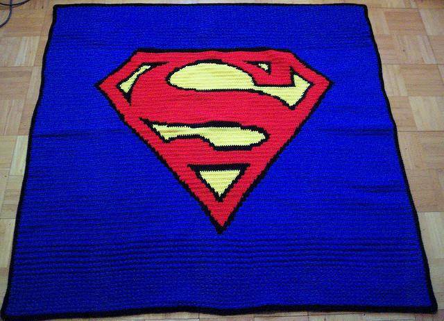 superman crochet blanket by crochetamommy