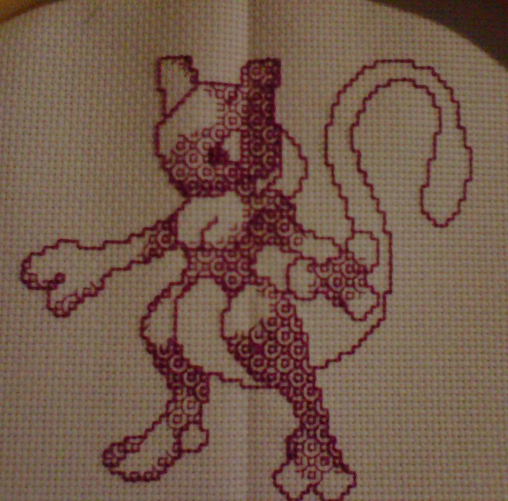 Mewtwo cross stitch blackwork finished by crochetamommy