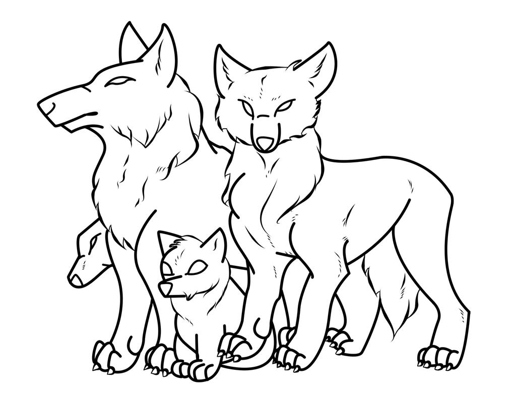 Wolf Family Outline by crochetamommy