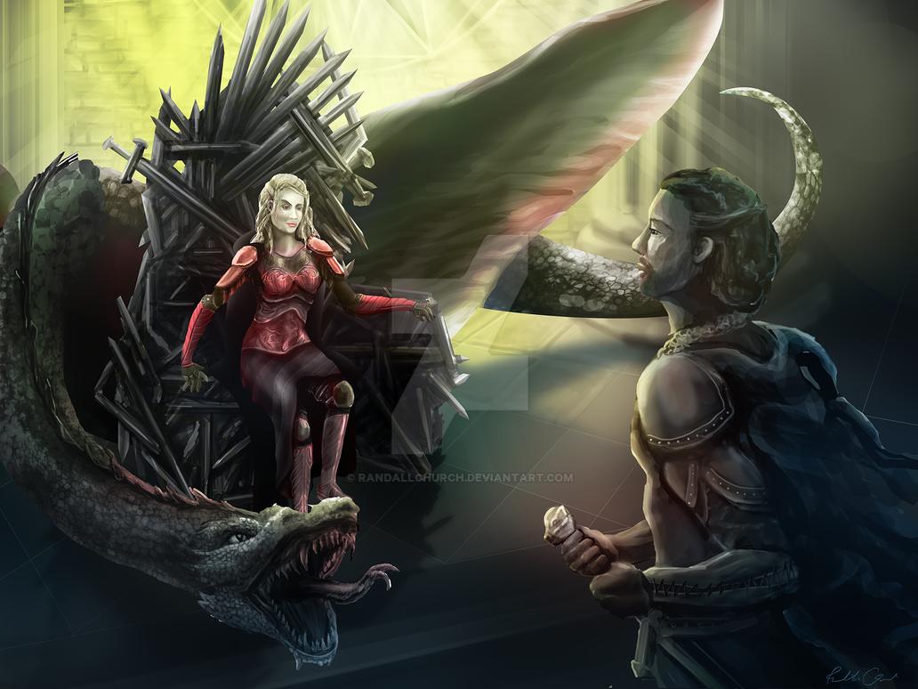 Dany meets Jon - ASOIAF Fanart by randallchurch