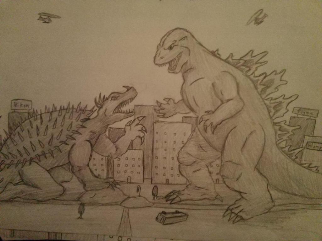 Dibujos Godzilla Raids Again 1955 Para Colorear: Godzilla VS Anguirus By SuperFIFIBros On DeviantART