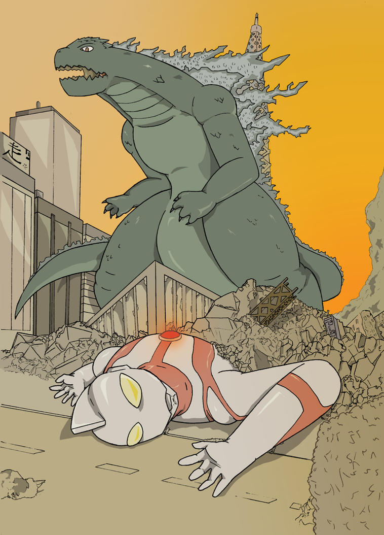 [Fanart illustration ] GODZILLA VS ULTRA-MAN by FTLmech-hound