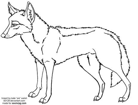 Coyote Standing Free Lineart