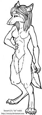 Free Female Werewolf Lineart