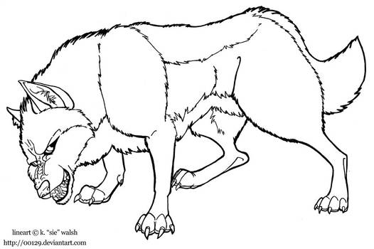 Free Wolf Growling Lineart Template