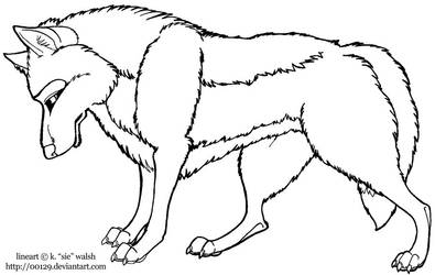 Free Standing Wolf Lineart Template
