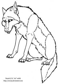 Free Sitting Wolf Lineart