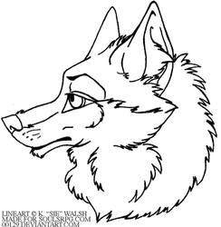 Free Wolf Headshot Avatar Lineart