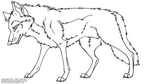 Free Wolf standing Lineart