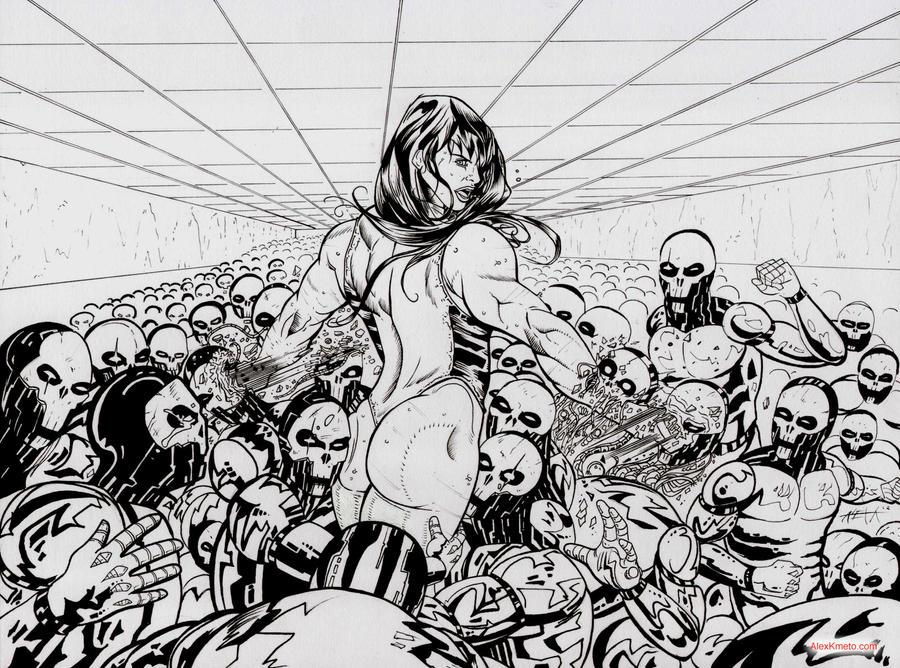 She-Hulk vs Robot Army by Alex Kmeto by akmeto