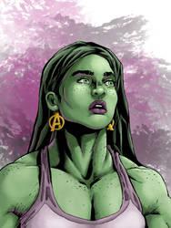 She-Hulk Portrait by Alex Kmeto