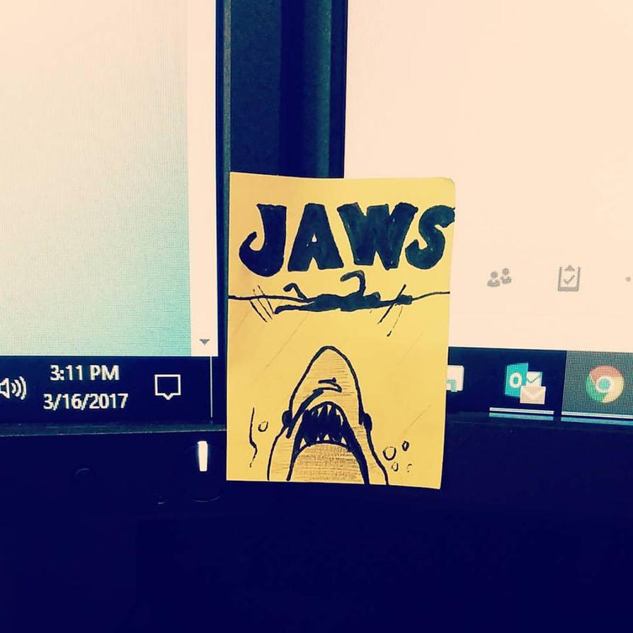 Jaws (sticky note movie poster) by nylandewhouse