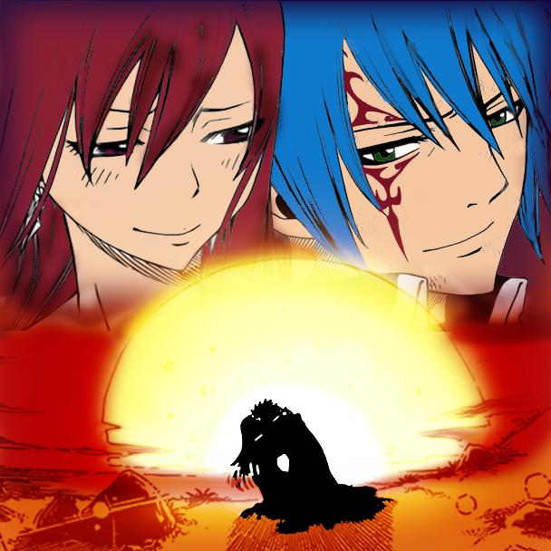 Erza and Jellal-manga sunset v.2 by GalacticKitten on ...