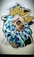 skull and crysthanamum tattoo flash