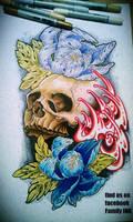 SKULL AND PEONY FLOWERS tattoo flash