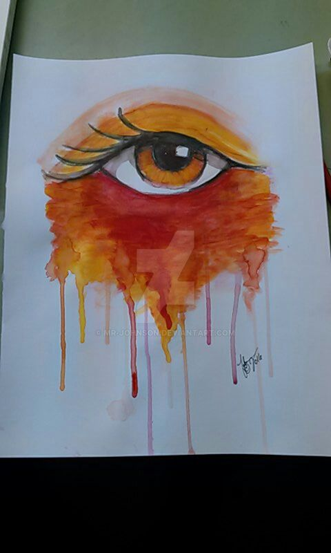 Watercolour Eye, Orange by mr-johnson