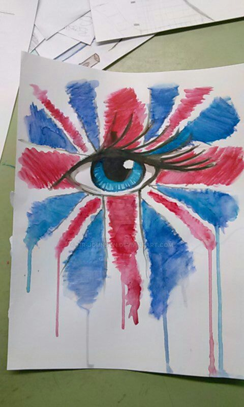 Watercolour Eye, Union Jack by mr-johnson