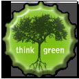 Think Green bottlecap by burningbush