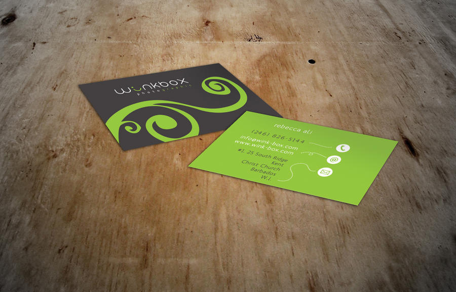 winkbox logo + biz card by burningbush