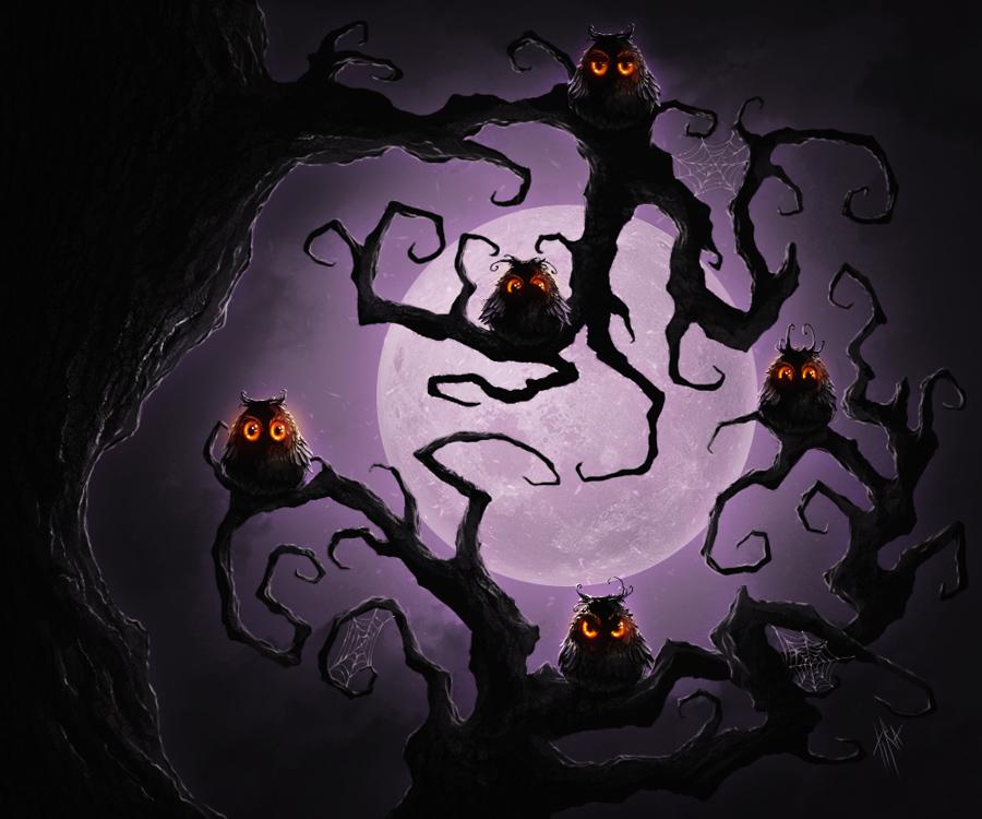 Owls tree by Tira-Owl