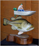 Bass with fisherman