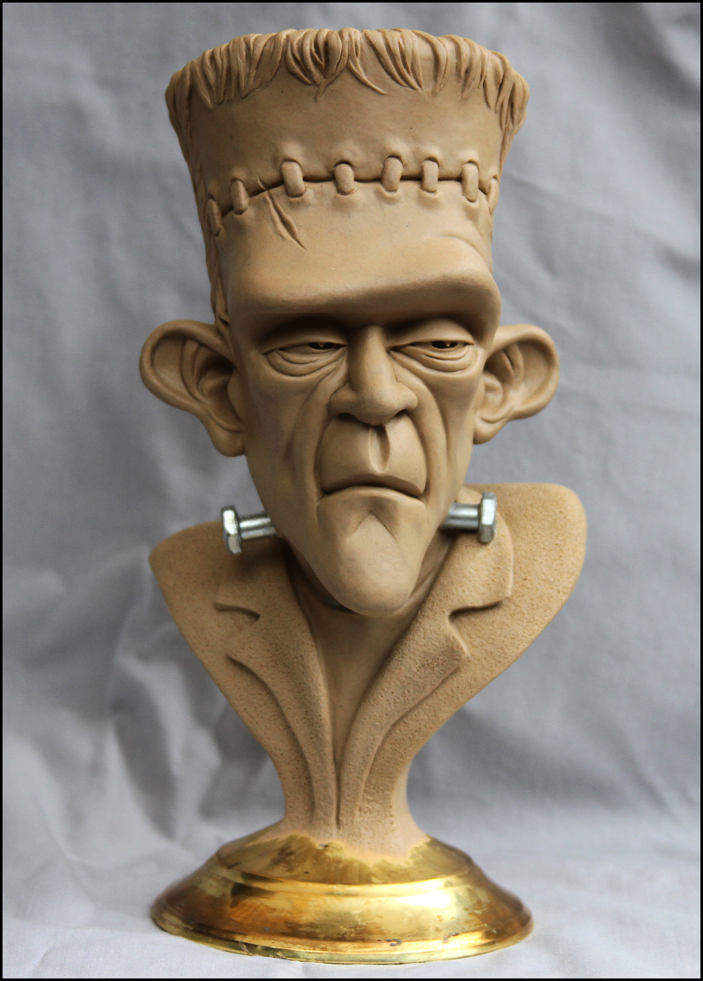 Frankenstein s monster bust final clay by randyhand on