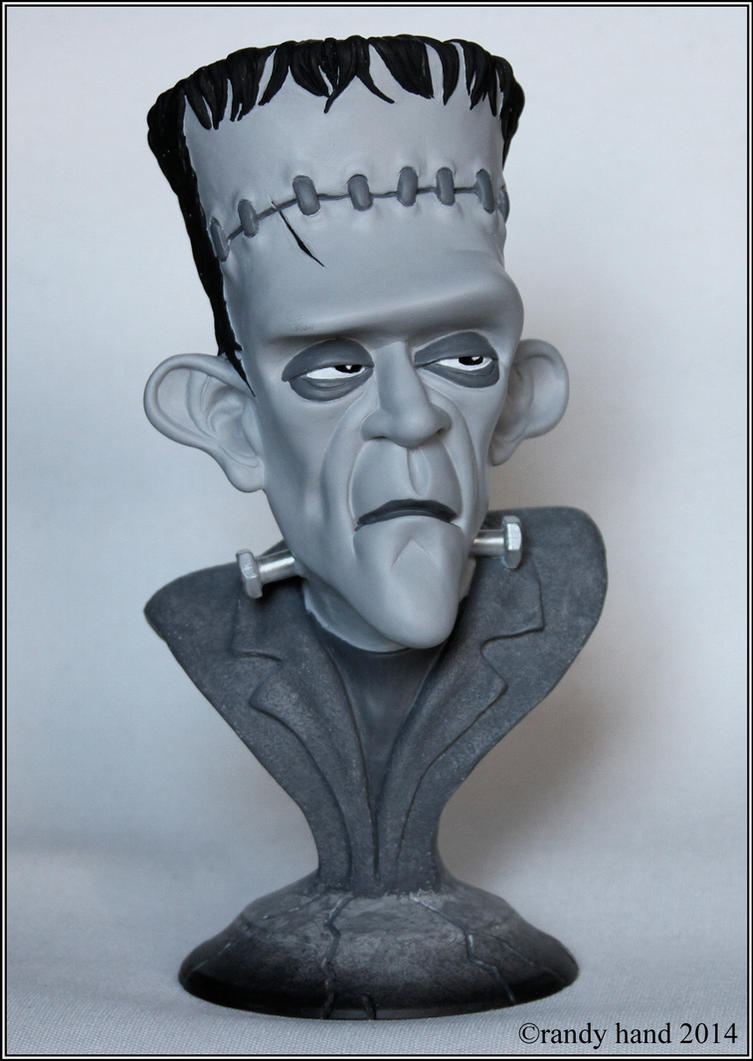 Frankenstein's Monster-bust black n white version by RandyHand